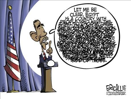 Obama on Egypt Crisis - cartoon