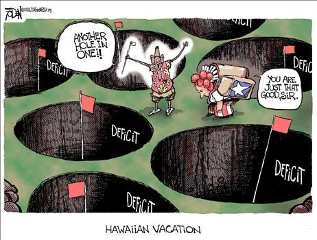 Obama Deficit Hole-in-One - cartoon