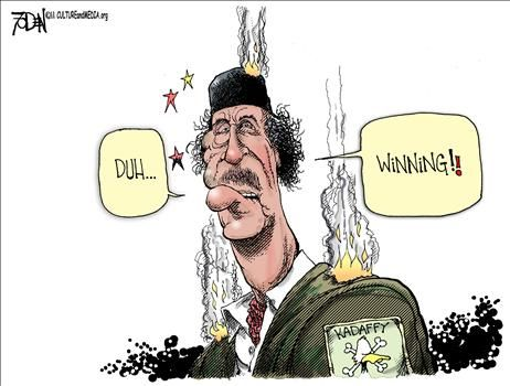 "Gaddafi ""WINNING"" - cartoon"