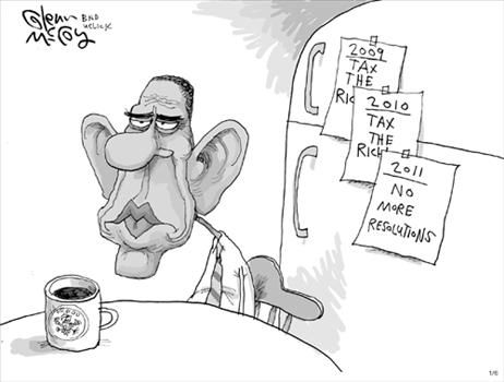 Obama New Years Resolution - cartoon