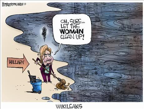 Hillary Clinton cleaning up after Wikileaks - a cartoon
