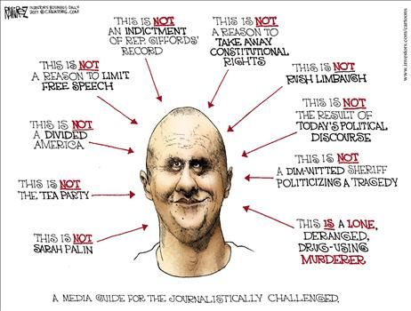 Jared Loughner mug shot - cartoon