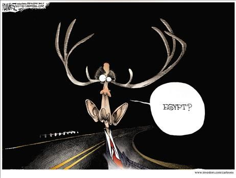 Obama in Egypt headlights - cartoon