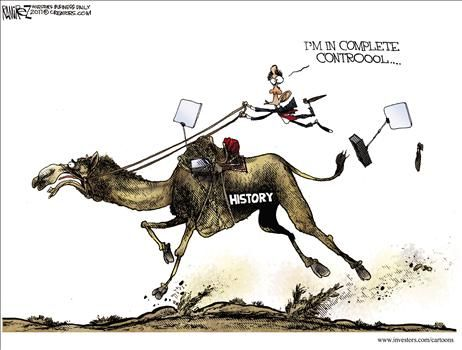 Obama controlling history - cartoon