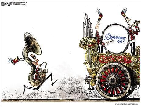Democracy Bandwagon - cartoon