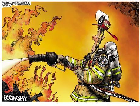 Obama energy policy vs. economy - cartoon