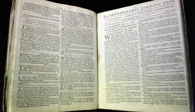 In this Thursday, June 28, 2012 photo is the first newspaper printing of the Declaration of Independence on July 6, 1776 in The Pennsylvania Evening Post,  according to Scott Stephenson