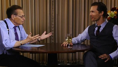 """This image released by Hulu shows host Larry King interviews actor Matthew McConaughey during an interview on """"Larry King Now,"""" a new online show from the former CNN anchor that"""