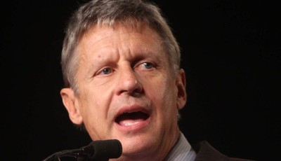 FILE - In this Sept 23, 2011 file photo, Libertarian Party presidential candidate, former New Mexico Gov.  Gary Johnson speaks in Orlando, Fla. President Barack Obama