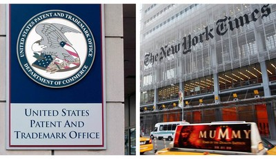 This combination of Associated Press file photos shows the The U.S. Patent and Trademark Office in Alexandria, Va., left, and The New York Times building in New York, right. The Times i