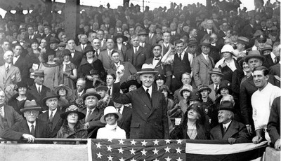 FILE - In this Oct. 4, 1924, file photo, U.S. President Calvin Coolidge throws out the ball for the opening game of the 1924 World Series between the Washington Senators and the New Yor