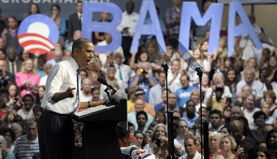 FILE- In this July 19, 2012 file photo, President Barack Obama speaks at a campaign event at the Prime Osborn Convention Center in Jacksonville, Fla. The Obama campaign targeted the Jac