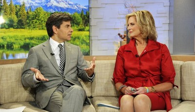 """This image released by ABC shows host George Stephanopoulos, left, speaking with Ann Romney, wife of Republican presidential hopeful Mitt Romney on """"Good Morning America,"""" Wednesday, Oc"""