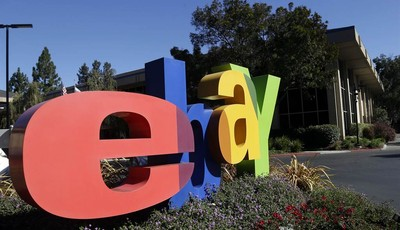An eBay sign decorates the front of the company