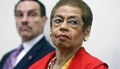 FILE - In this May 29, 2012 file photo, Del. Eleanor Holmes Norton, D-D.C., a non-voting delegate in the House of Representatives, right, accompanied by Washington Mayor Vincent Gray, t