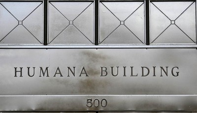 This  Monday, Aug. 8, 2011 photo, shows the entrance to the Humana building,  in Louisville, Ky.  Health insurer Humana Inc. said Monday, Nov. 5, 2012, that its third-quarter net income