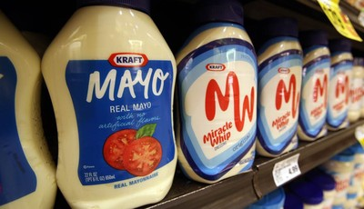 This Feb. 9, 2011, photo, shows containers of Kraft mayonnaise and Miracle Whip, at a Ralphs Fresh Fare supermarket in Los Angeles. Kraft Foods is embracing the spirit of a startup and