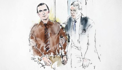 In this courtroom sketch, Jared Loughner is lead into the courtroom by a U.S. Marshal prior to sentencing in U.S. District Court Thursday, Nov. 8, 2012, in Tucson, Ariz. U.S. District J