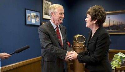 Sen. Susan Collins, R-Maine meets with Sen.-elect Angus King, I-Maine in her office on Capitol Hill in Washington, Tuesday, Nov. 13, 2012, to discuss committee assignments and how they