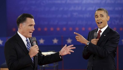 FILE - In this Oct. 16, 2012 file photo, President Barack Obama and Republican presidential candidate, former Massachusetts Gov. Mitt Romney exchange views during the second presidentia