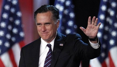 FILE - This Nov. 7, 2012 file photo shows Republican presidential candidate, former Massachusetts Gov. Mitt Romney waving to supporters at an election night rally in Boston. Romney's sh