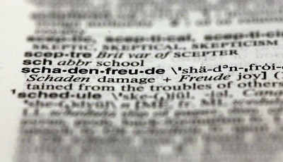 The word schadenfreude, from the 11th edition of Merriam-Webster