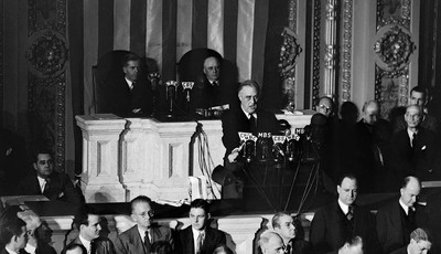 FILE - In this Dec. 8, 1941 file photo, President Franklin Roosevelt speaks to a joint session of Congress in Washington after the Japanese attack on Pearl Harbor, Hawaii. (AP Photo)