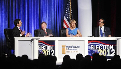 FILE - In this June 27, 2012 file photo, from left, moderator Chris Wallace kicks off a discussion with panelists Dick Morris, Laura Ingraham and Charles Krauthammer at the Manufacturer