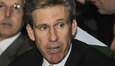 FILE - In this April 11, 2011, file photo, then U.S. envoy Chris Stevens attends meetings at the Tibesty Hotel where an African Union delegation was meeting with opposition leaders in B