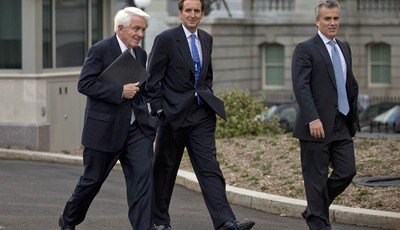 From left,  U.S. Chamber of Commerce Chief Executive Tom Donohue, former Minnesota Gov. and GOP presidential candidate Tim Pawlenty, and, Jeffrey Zients of the Office of Management and