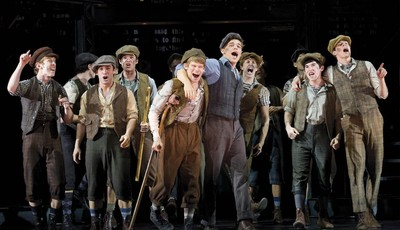 "FILE - In this theater image released by Disney Theatricals, the cast of The Paper Mill Playhouse Production of ""Newsies,"" starring Jeremy Jordan, center right, is shown in New York. Di"