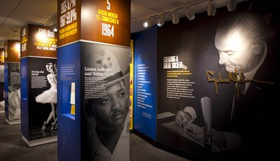 In this Dec. 11, 2012 photo, new exhibits about Lyndon Baines Johnson