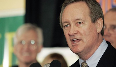 FILE - In this Nov. 2, 2010 file photo, U.S. Sen. Mike Crapo, R-Idaho, gives his victory speech at the Republican Party election headquarters held at the Doubletree Riverside Hotel in B