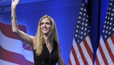 FILE - In this Feb. 12, 2011 file photo, Ann Coulter waves to the audience after speaking at the Conservative Political Action Conference (CPAC) in Washington. The Fox Nation web site h