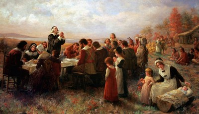 """FILE - This Tuesday, Nov. 15, 2005 photo shows a detail of the 1914 Jennie Brownscombe painting """"The First Thanksgiving at Plymouth"""" hanging at the Pilgrim Hall Museum in Plymouth, Mass"""