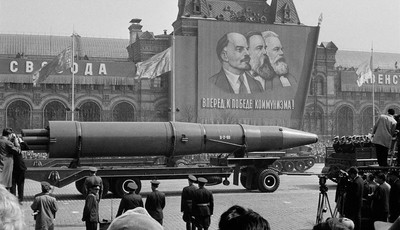 FILE - In this May 1, 1963 file photo, a Naval rocket is exhibited in Moscow