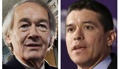 FILE - This panel of 2013 file photos show Democrat U.S. Rep. Ed Markey, left, and Republican Gabriel Gomez, right, candidates for U.S. Senate in the June 24, 2013 special election, bei