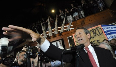 Former South Carolina Gov. Mark Sanford gives his victory speech after wining back his old congressional seat in the state