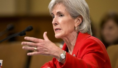 FILE - In this April 12, 2013 file photo, Health and Human Services (HHS) Secretary Kathleen Sebelius testifies on Capitol Hill in Washington before the House Ways and Means Committee h