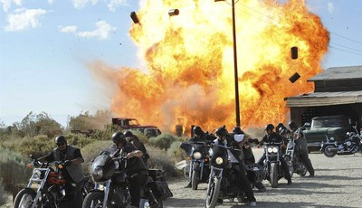 "FILE - In this file image released by FX, a scene is shown from the FX original series, ""Sons of Anarchy."" Television executives who spoke to the media recently about the tragic shootin"