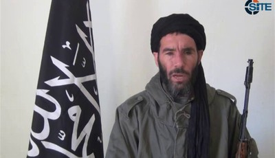 FILE - This undated file image taken from video provided by the SITE Intel Group made available Thursday Jan. 17, 2013, purports to show terrorist leader Moktar Belmoktar. In an Oct. 3