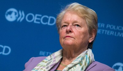 """Former Prime Minister of Norway Gro Harlem Brundtland  attends a meeting """" Women of  influence"""" in OECD headquarters in Paris. Wednesday, May 29, 2013.(AP Photo/Jacques Brinon)"""