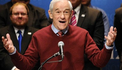 FILE - This Feb. 7, 2012 file photo shows then-Republican presidential candidate Rep. Ron Paul, R-Texas speaking in Golden Valley, Minn. Ron Paul is exiting the political stage but his