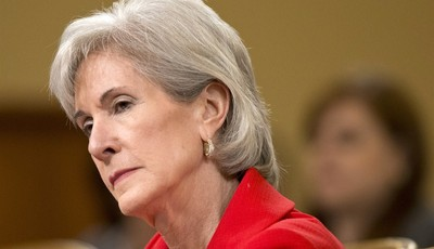 FILE - In this April 12, 2013 file photo, Health and Human Services (HHS) Secretary Kathleen Sebelius testifies on Capitol Hill in Washington,  before the House Ways and Means Committee