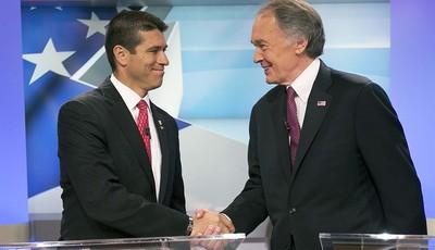 U.S. Senate candidate Republican Gabriel Gomez, left,  shakes hands with Democrat Edward Markey before the debate, Wednesday, June 5, 2013 in Brighton, Mass. Democrat Edward Markey and