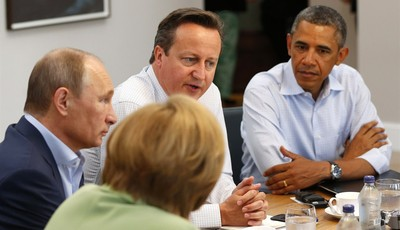G8 leaders from left, German Chancellor Angela Merkel, Russian President Vladimir Putin, Britain
