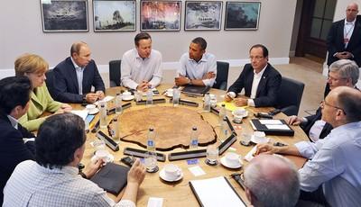G8 leaders from left, European Commission President Jose Manuel Barroso, Japan