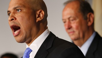 FILE - In this Saturday, June 8, 2013, file photo, Newark Mayor Cory Booker announces his plans to run for the U.S. Senate seat that opened with the death of Frank Lautenberg (D-N.J.) i