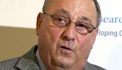 FILE - In this April 19, 2013 file photo, Gov. Paul LePage speaks at a news conference at the State House in Augusta, Maine. LePage used a sexually vulgar phrase Thursday, June 20, 2013