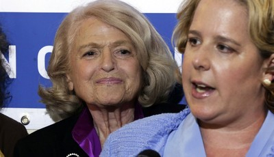 ADDS THAT WINDSOR IS THE PLAINTIFF IN THE HISTORIC GAY MARRIAGE CASE BEFORE THE U.S. SUPREME COURT - Edith Windsor, left, the plaintiff in the historic gay marriage case before the U.S.